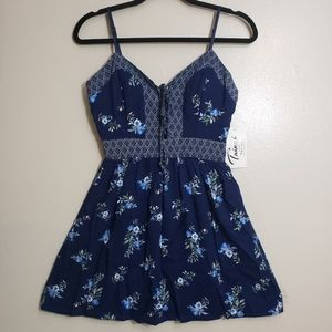 🔴 Trixxi Navy Floral Fit N Flare Strappy Dress